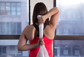 shoulder stretch with towel